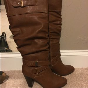 Cognac knee high rampage boots